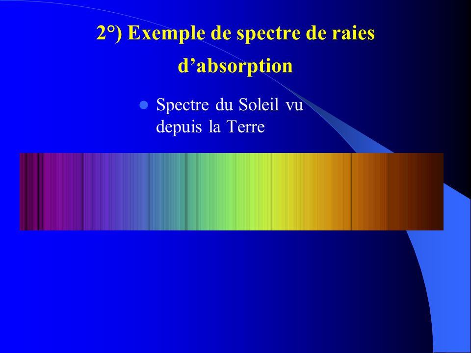 2°) Exemple de spectre de raies d'absorption