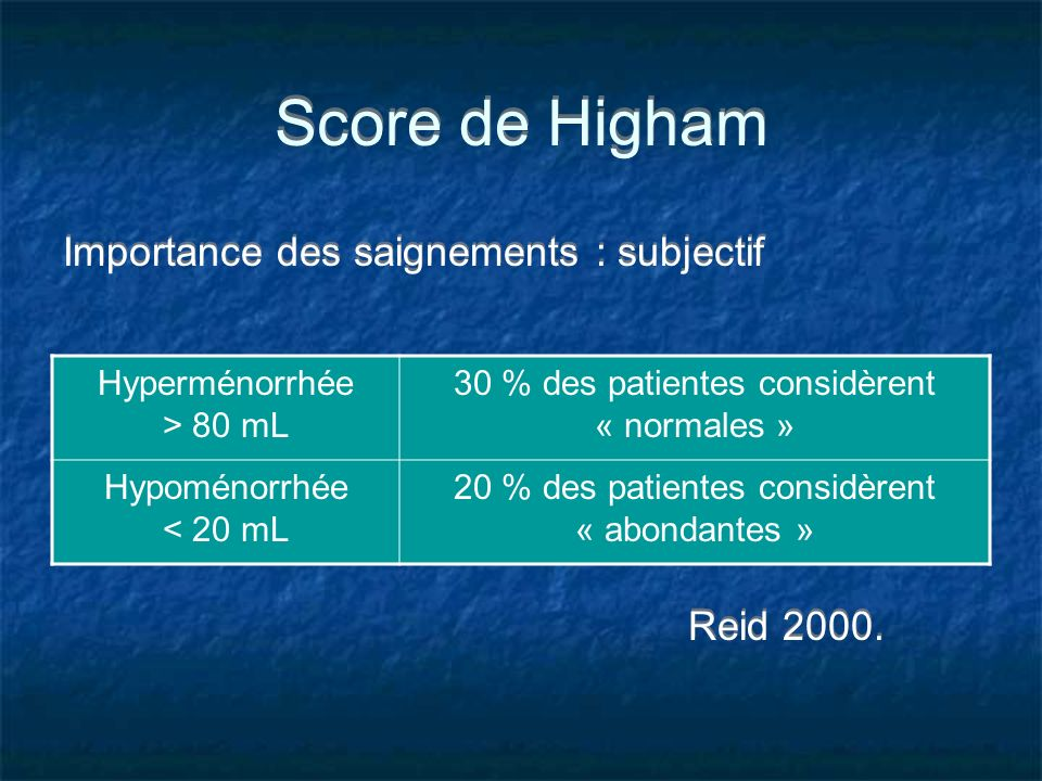 Score de Higham Importance des saignements : subjectif Reid 2000.