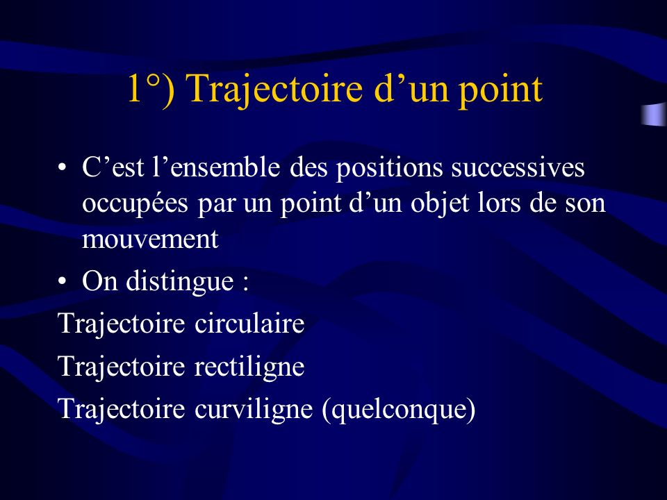 1°) Trajectoire d'un point