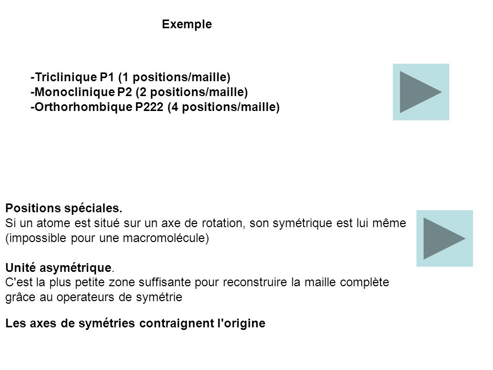 Exemple -Triclinique P1 (1 positions/maille) -Monoclinique P2 (2 positions/maille) -Orthorhombique P222 (4 positions/maille)
