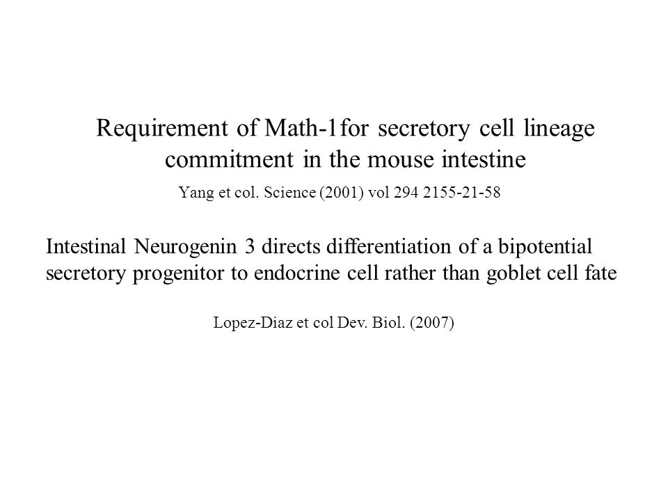 Requirement of Math-1for secretory cell lineage commitment in the mouse intestine