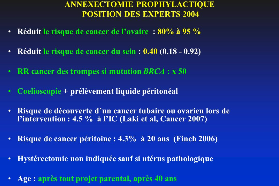 ANNEXECTOMIE PROPHYLACTIQUE POSITION DES EXPERTS 2004