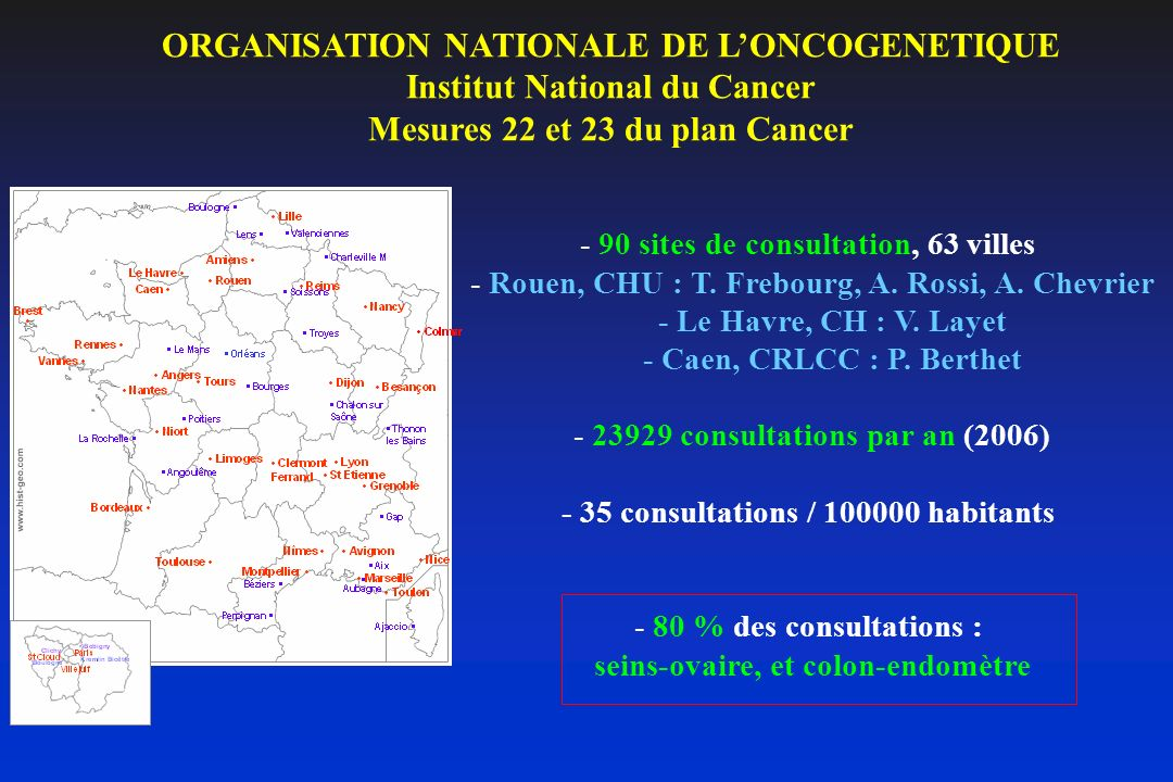ORGANISATION NATIONALE DE L'ONCOGENETIQUE Institut National du Cancer