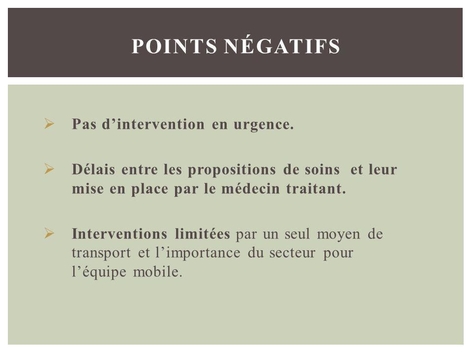 points négatifs Pas d'intervention en urgence.