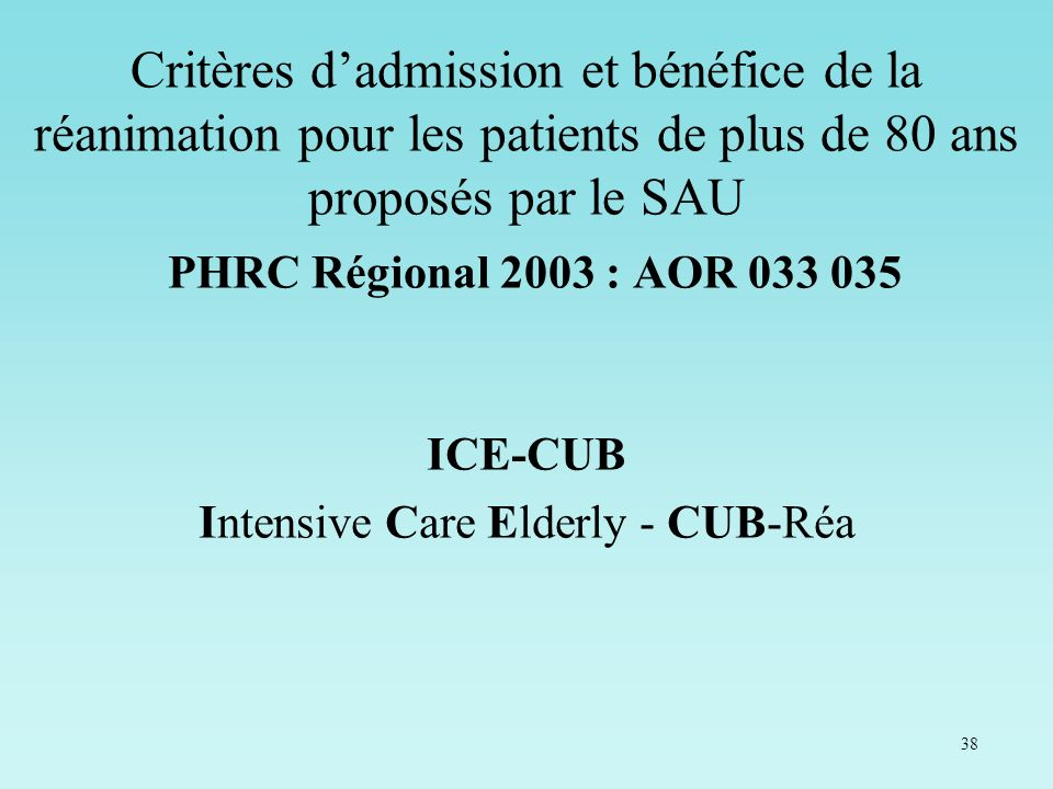 Intensive Care Elderly - CUB-Réa