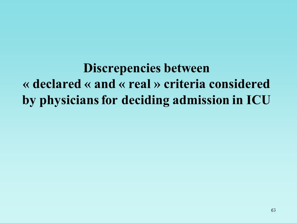Discrepencies between « declared « and « real » criteria considered by physicians for deciding admission in ICU