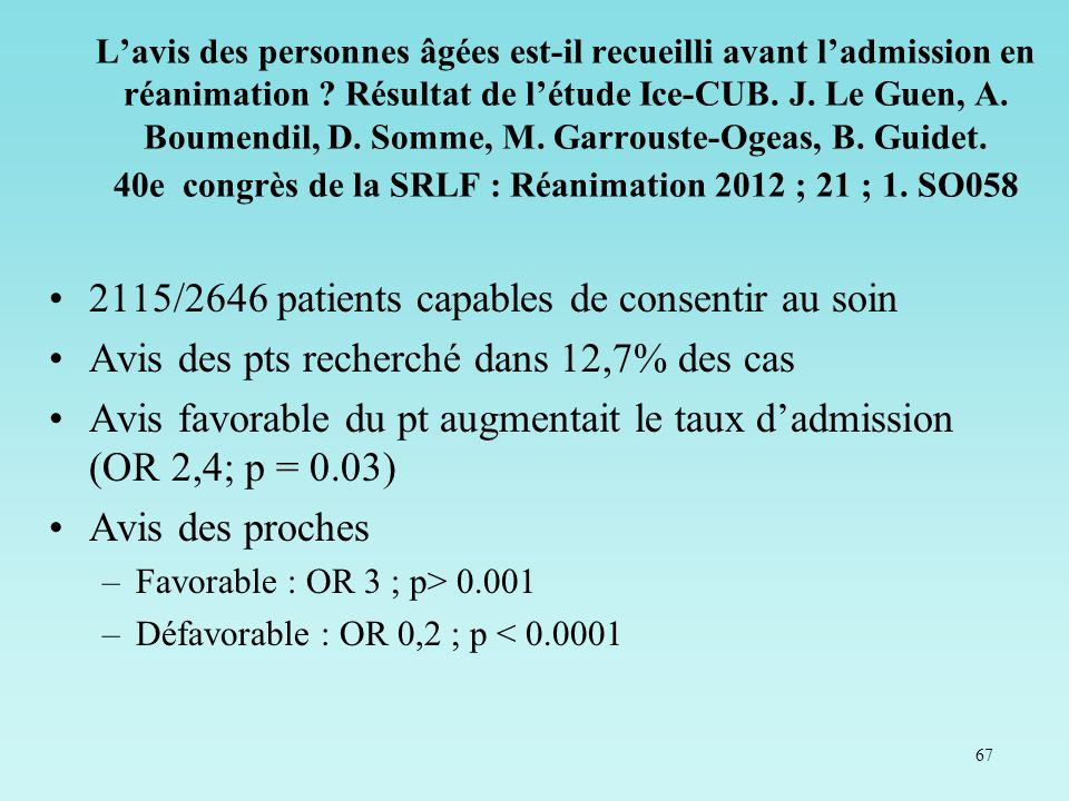 2115/2646 patients capables de consentir au soin