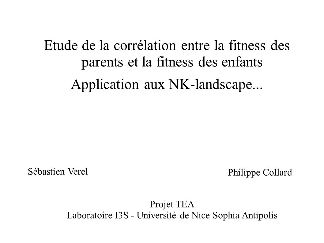 Application aux NK-landscape...