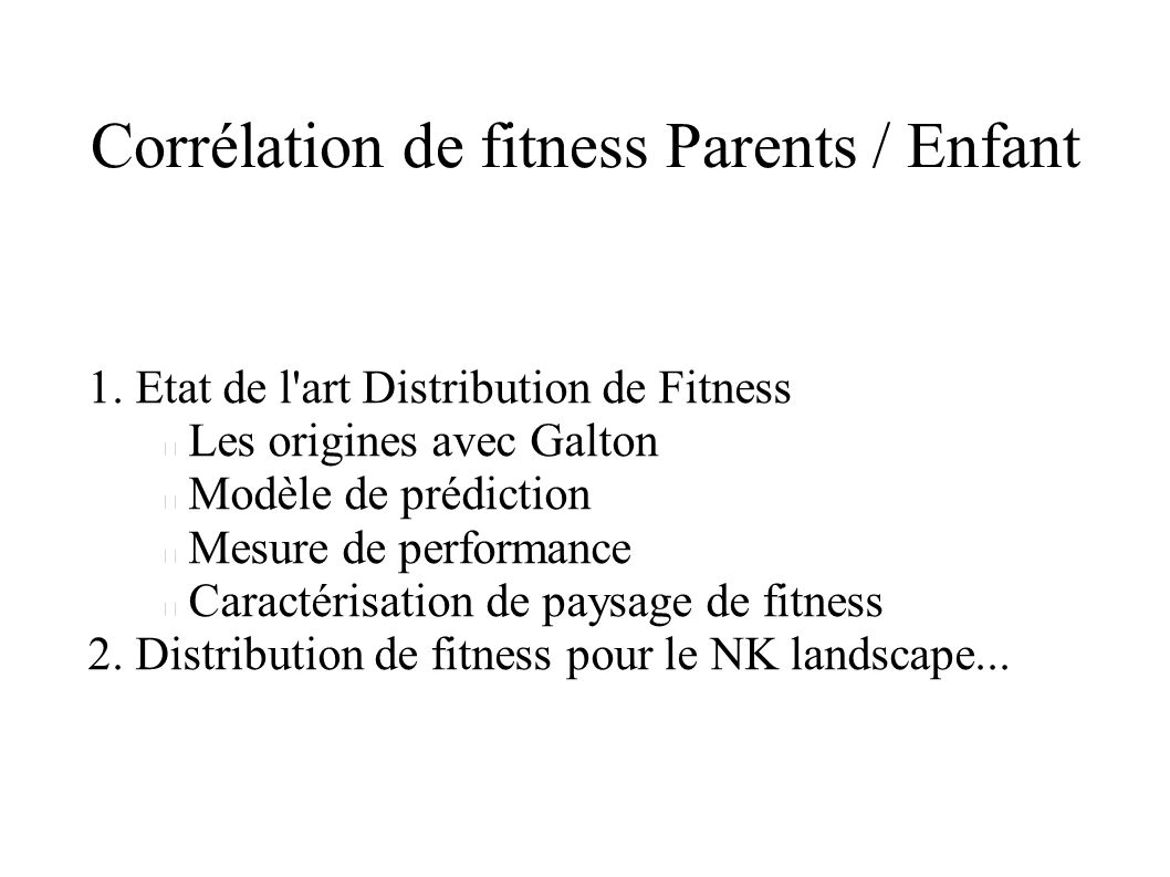 Corrélation de fitness Parents / Enfant