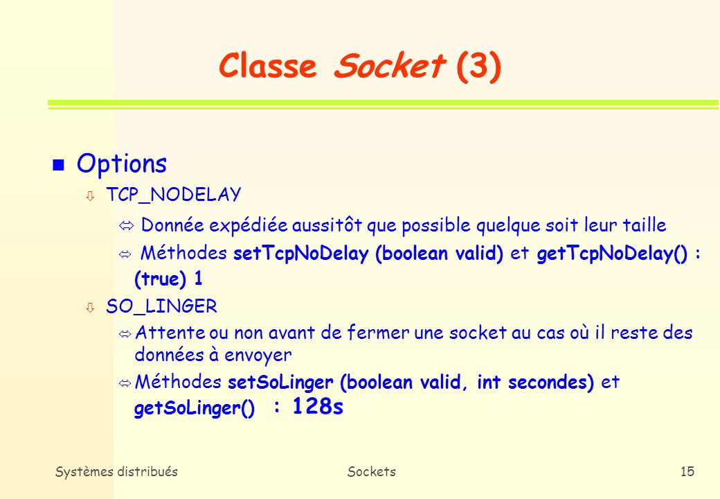 Classe Socket (3) Options