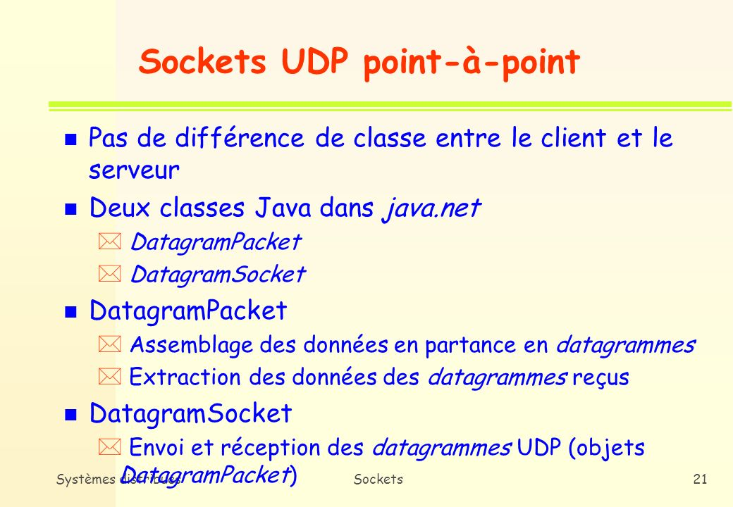 Sockets UDP point-à-point