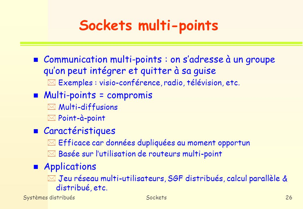 Sockets multi-points Communication multi-points : on s'adresse à un groupe qu'on peut intégrer et quitter à sa guise.