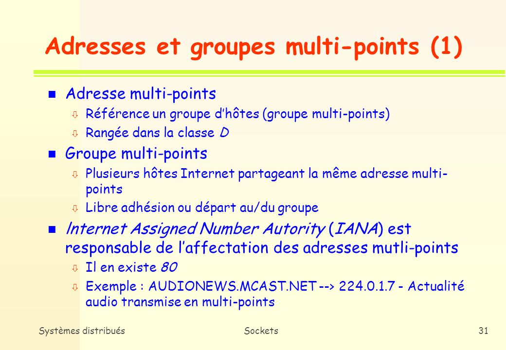 Adresses et groupes multi-points (1)