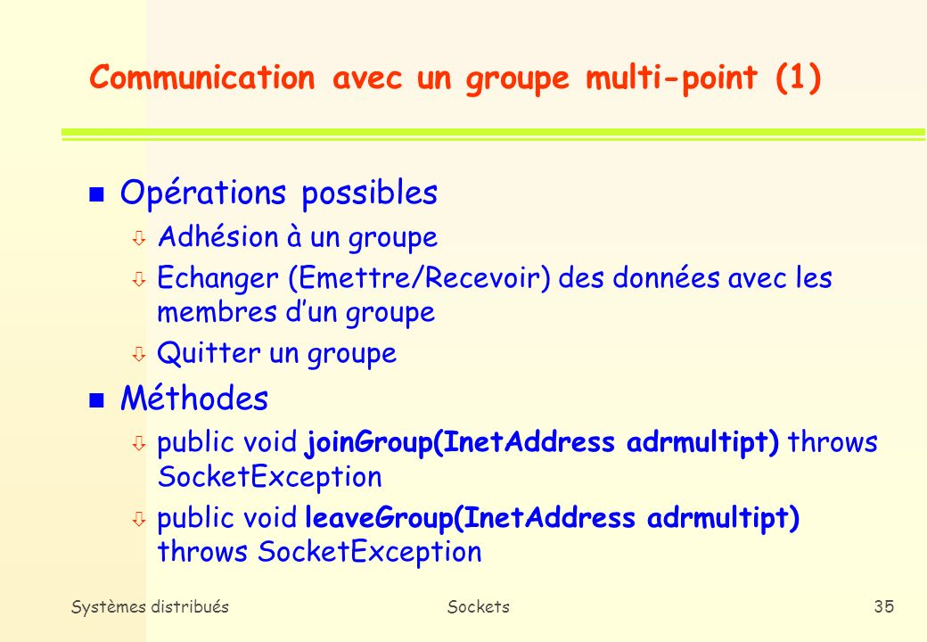 Communication avec un groupe multi-point (1)