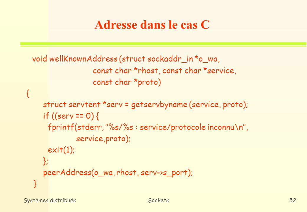 Adresse dans le cas C void wellKnownAddress (struct sockaddr_in *o_wa,