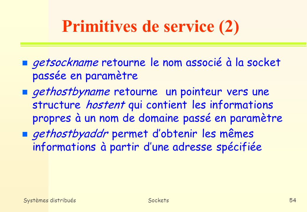 Primitives de service (2)