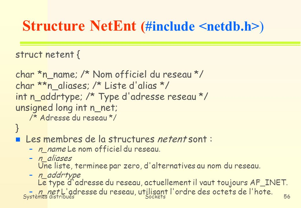 Structure NetEnt (#include <netdb.h>)