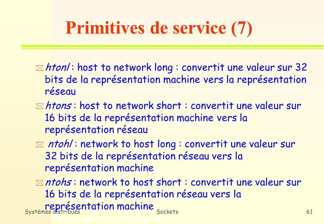 Primitives de service (7)