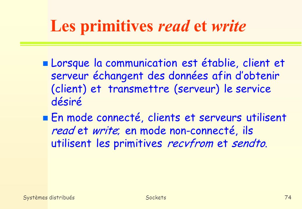 Les primitives read et write