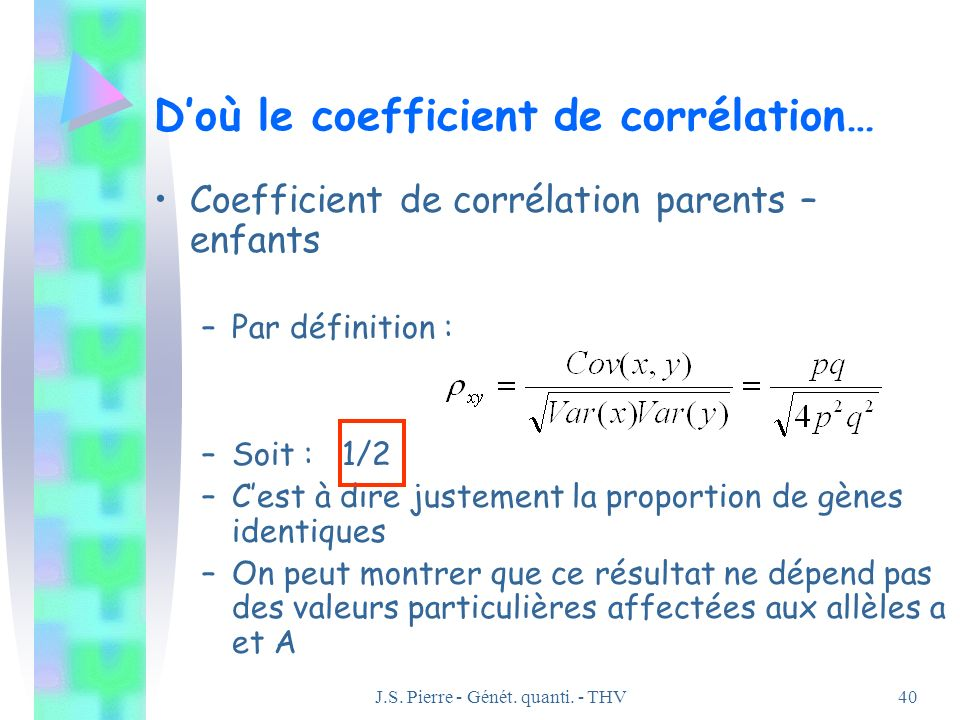 D'où le coefficient de corrélation…