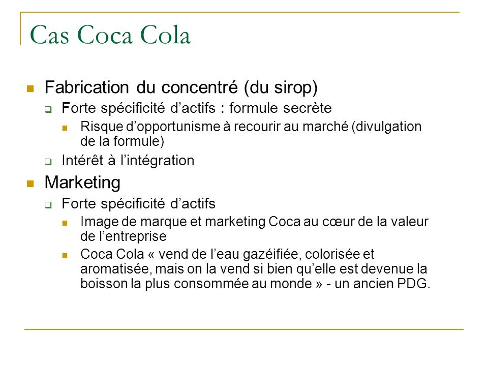 Cas Coca Cola Fabrication du concentré (du sirop) Marketing