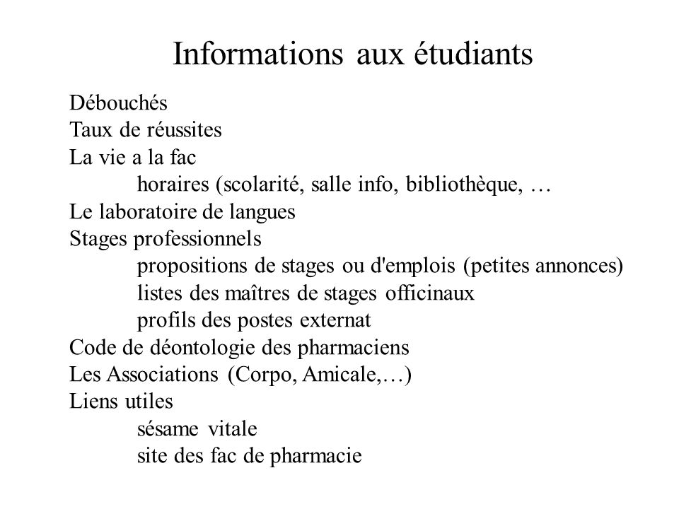 Informations aux étudiants