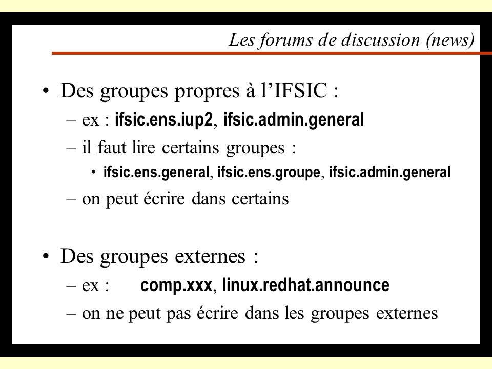 Les forums de discussion (news)