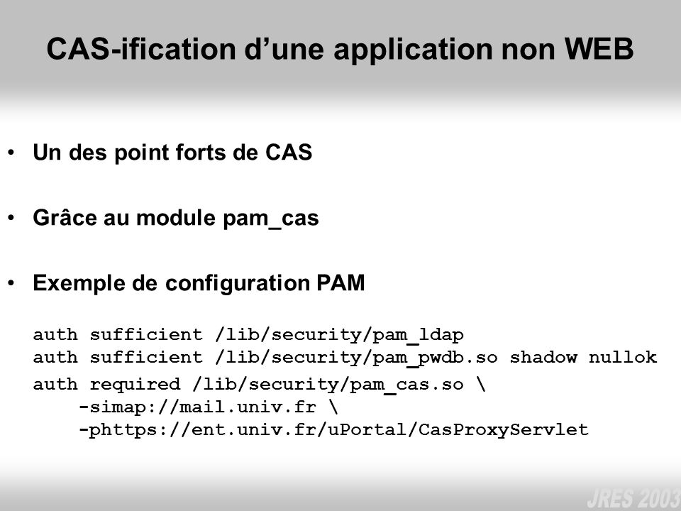 CAS-ification d'une application non WEB