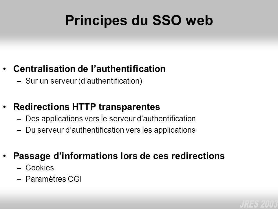 Principes du SSO web Centralisation de l'authentification