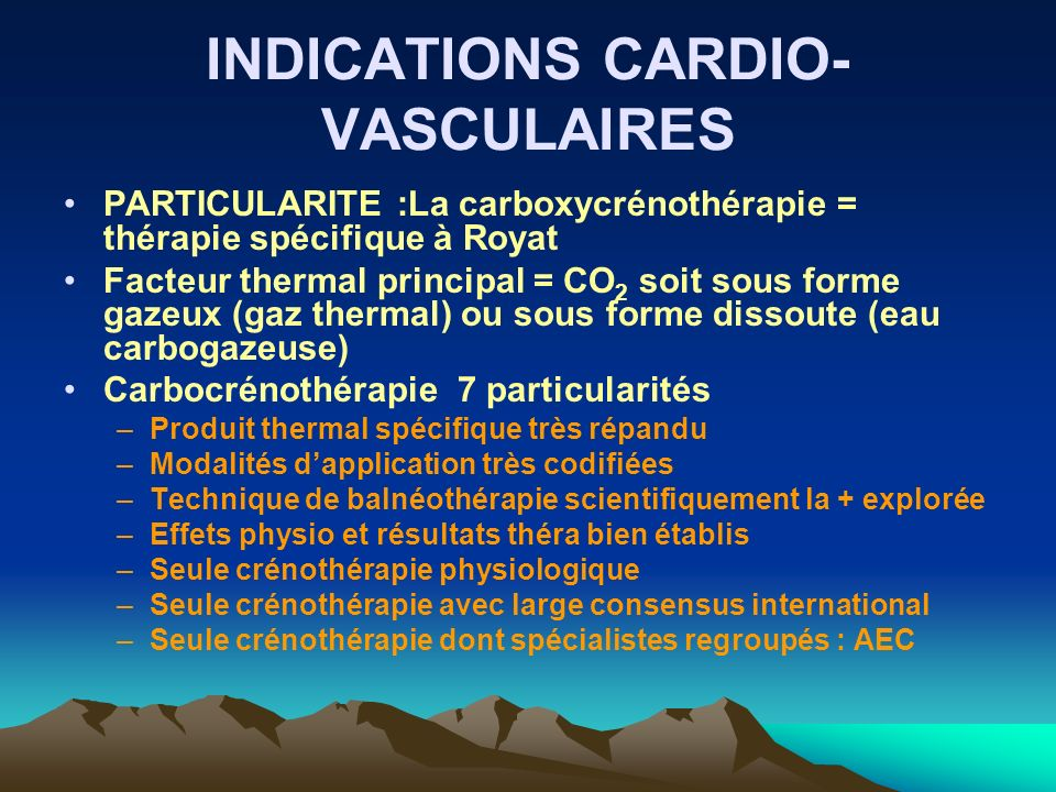 INDICATIONS CARDIO-VASCULAIRES