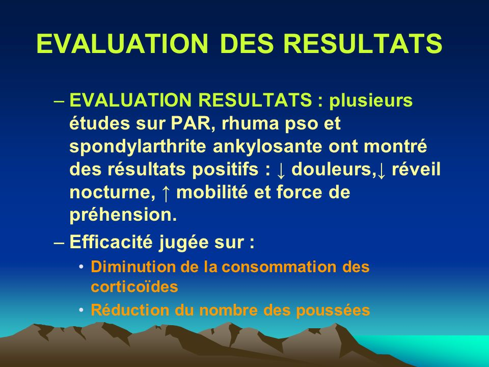 EVALUATION DES RESULTATS