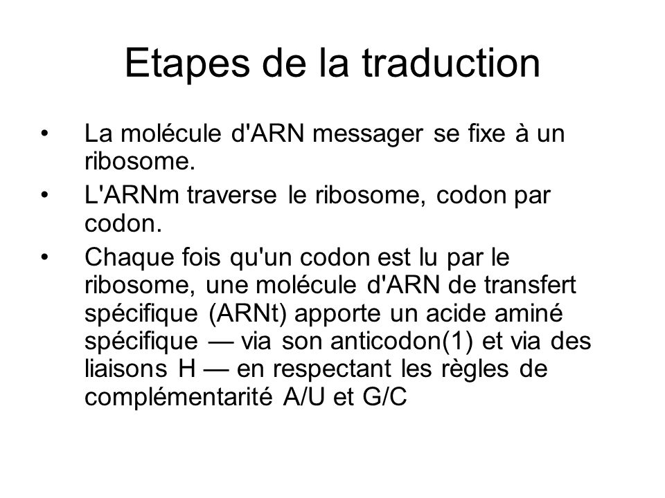Etapes de la traduction