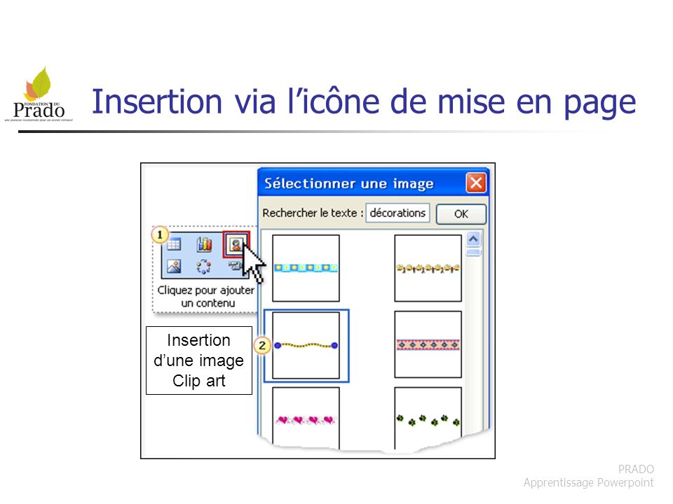 Insertion via l'icône de mise en page