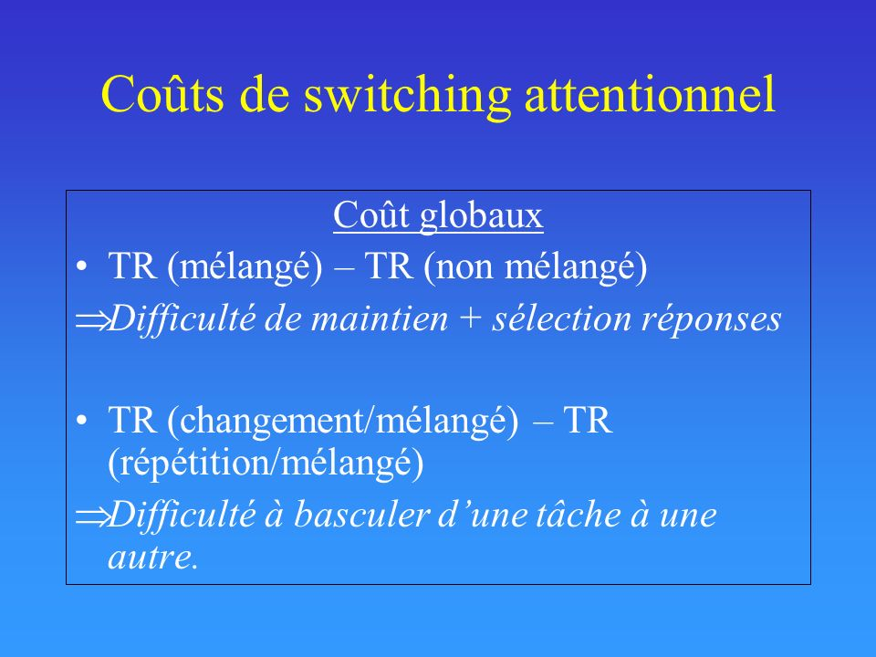 Coûts de switching attentionnel