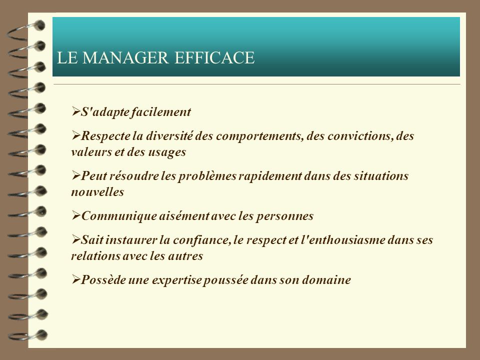 LE MANAGER EFFICACE S adapte facilement