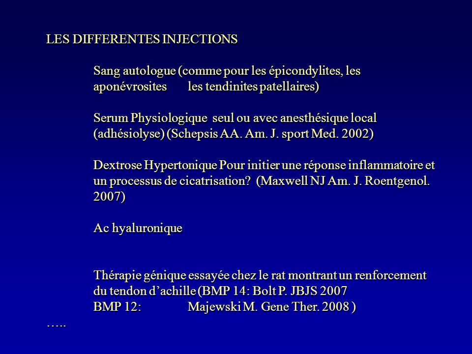 LES DIFFERENTES INJECTIONS
