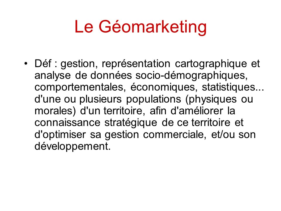 Le Géomarketing