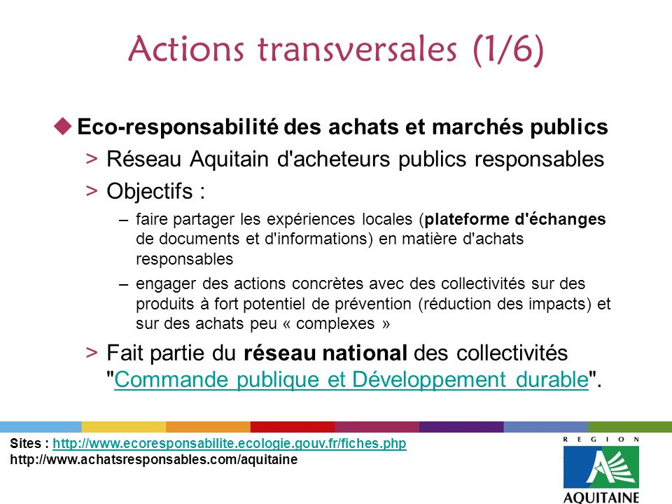 Actions transversales (1/6)