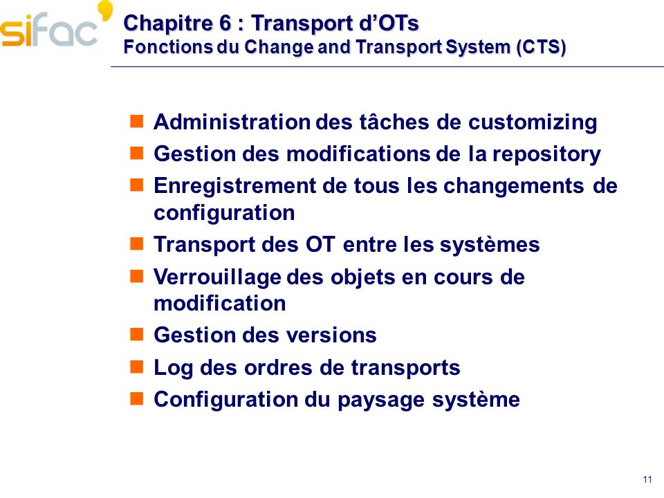 Administration des tâches de customizing