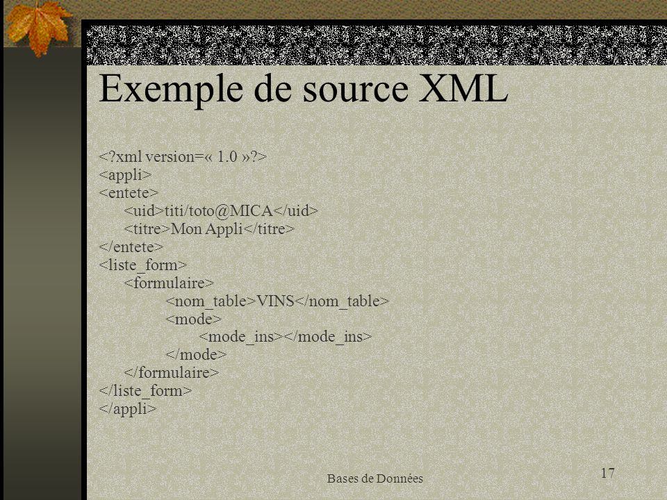 Exemple de source XML < xml version=« 1.0 » > <appli>