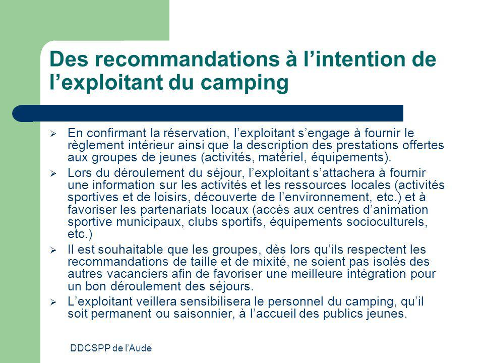 Des recommandations à l'intention de l'exploitant du camping