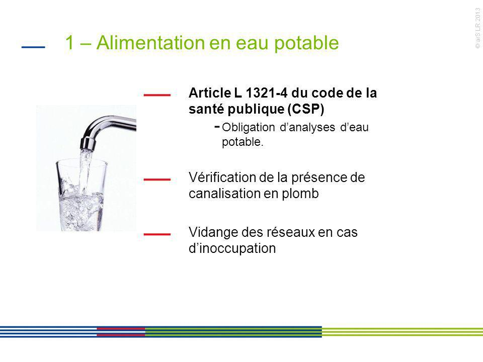 1 – Alimentation en eau potable