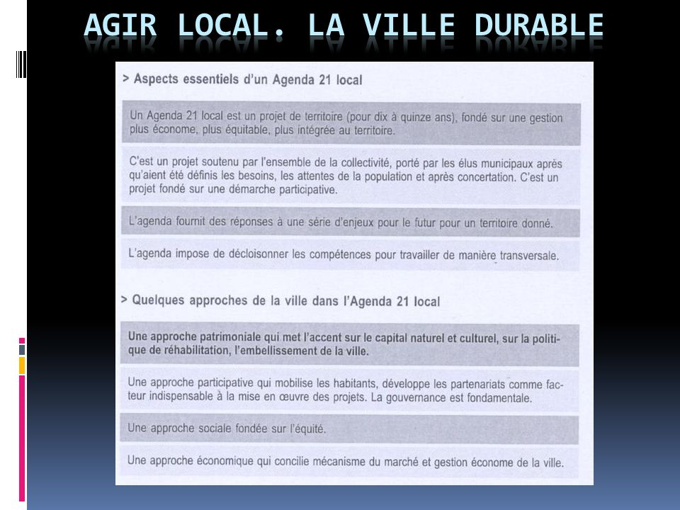 agir local. LA VILLE DURABLE