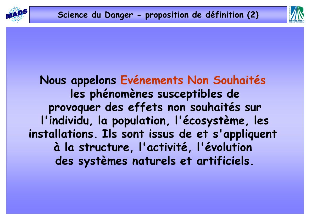 Science du Danger - proposition de définition (2)