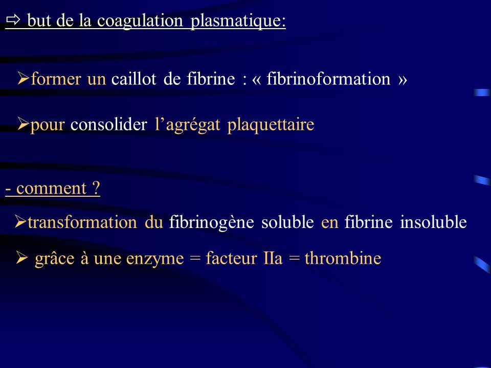 but de la coagulation plasmatique: