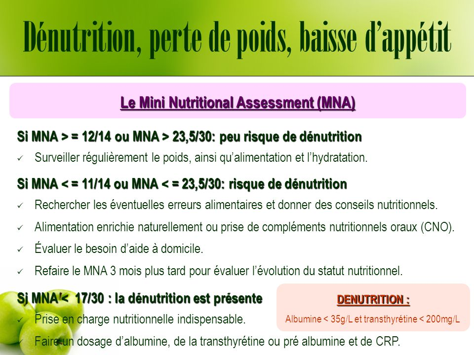 Le Mini Nutritional Assessment (MNA)