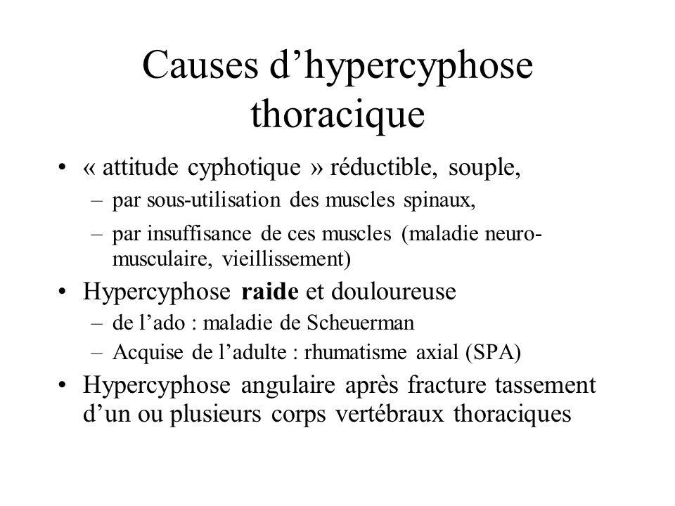 Causes d'hypercyphose thoracique