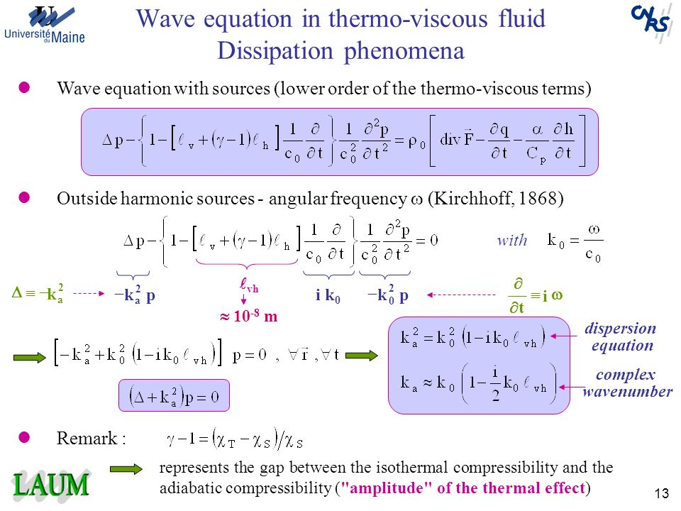Wave equation in thermo-viscous fluid Dissipation phenomena