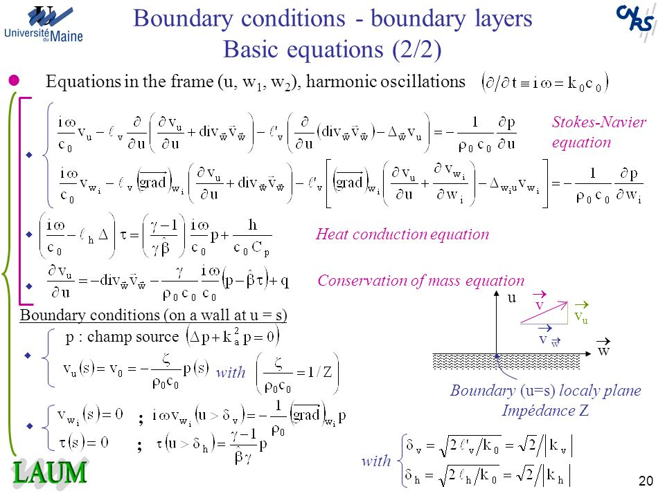 Boundary conditions - boundary layers Basic equations (2/2)