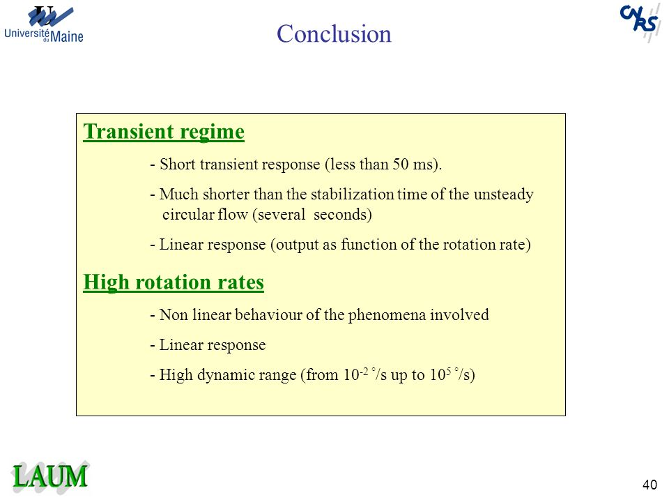 Conclusion Transient regime High rotation rates
